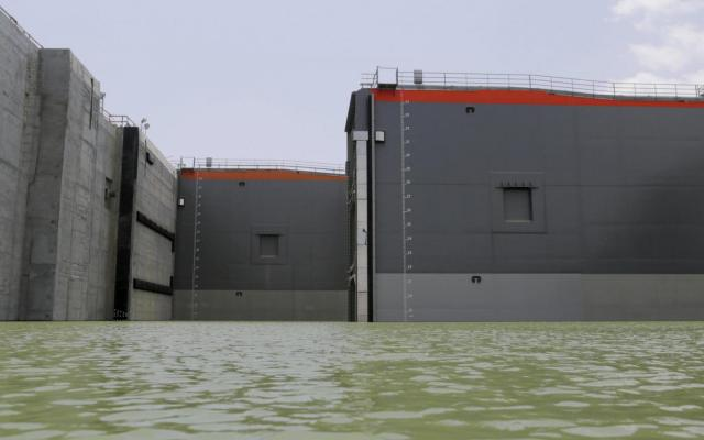 The gates of the new locks of Panama Canal