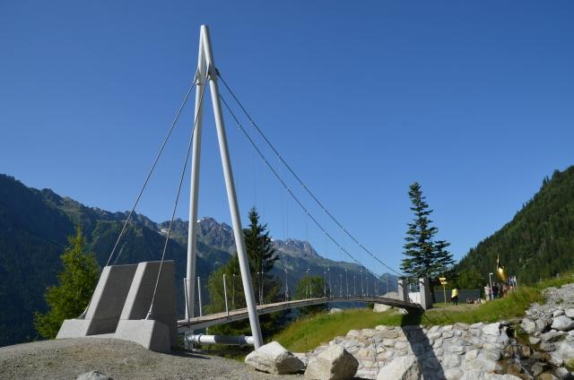 The cycle-pedestrian walkway over the De La Creusce creek on the French Alps