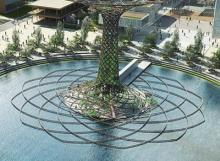 The Tree of Life, in the lake of Expo 2015 fair